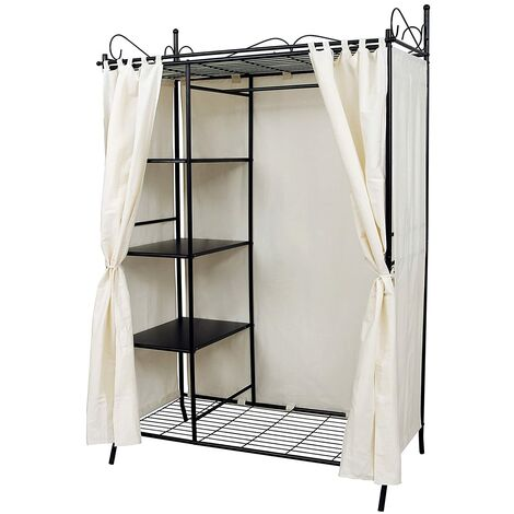 Wardrobe Clothes Cupboard Hanging Rail Storage Shelves with Metal Frame and Cover 108 x 170 x 58cm RTG03H - Black