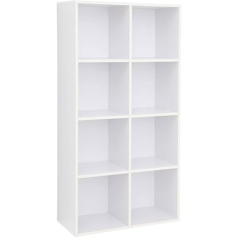 8 Cube Storage Bookshelf, Wooden Bookcase and Display Shelf, Freestanding Cabinet Unit for Office Home, White, LBC24WT - White
