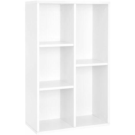 Wooden 5-grid Bookcase File Organiser and Floor Standing Bookshelf Rack Holds Books and DVDs 50 x 24 x 80cm White LBC25WT - White
