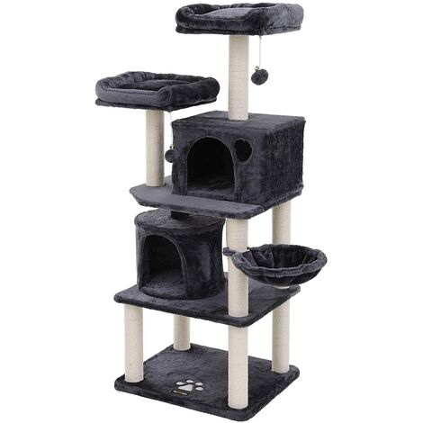 FEANDREA Multi-Level Cat Tree with Sisal-Covered Scratching Posts, Plush Perches, Basket and 2 Condos, Cat Tower Furniture for Kittens, Cats and Pets Smoky Grey by SONGMICS PCT90G - Smoky Grey