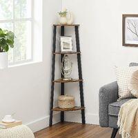 VASAGLE Corner Shelf Rack, 4-Tier Office Organiser Unit, Ladder Shaped Bookcase, for Home, Living Room, Bedroom, Balcony, Vintage, Black, by SONGMICS, LLS34X - Vintage, Black