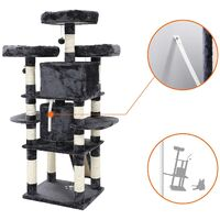 FEANDREA Big Cat Tree, Cat Tower with 3 Comfortable Viewing Perches, Cat Condo with 2 Cuddly Caves, Thick Sisal Posts, Extra Scratch Board, Stable, 172cm, Smoky Grey by SONGMICS PCT18GYZ - Smoky Grey