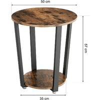 VASAGLE Side Table, Industrial Coffee Table, Round Sofa Table With Iron Frame, for Living Room, Bedroom, Stable and Simple Construction, Rustic Brown by SONGMICS LET57X