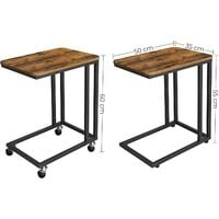 VASAGLE End Table, Industrial Side Table, Easy to Assemble, Coffee Table, for Coffee Laptop, with Metal Frame and Rolling Castors, for Living room, Bedroom, Balcony, Rustic Brown by SONGMICS LNT50X
