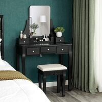 VASAGLE Dressing Table Set with Large Frameless Mirror, Makeup Table for Bedroom, Bathroom, 5 Drawers and 1 Removable Storage Box, Cushioned Stool, Black by SONGMICS RDT25BK