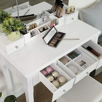 VASAGLE Dressing Table with 5 Drawers, Makeup Desk with 1 Stool, Frameless Tri-Fold Mirror, 1 Removable Cosmetic Storage Box, Vanity Set, Easy to Assemble, White by SONGMICS RDT28WT - White