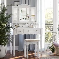 VASAGLE Dressing table with 7 Drawers, Makeup Table with Tri-Fold Necklace Hooked Mirror, 2 Brush Slots and 4 Open Compartments, Solid Wood Legs, Cushioned Stool, White by SONGMICS RDT60WT - White