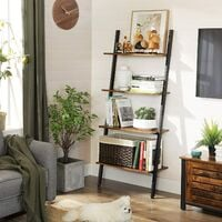 VASAGLE Ladder Shelf, Wall Rack Shelf Storage Shelving Unit 4 Tier Industrial Design Decorate Bookcase Living Room Kitchen Office Iron Stable Slanted Dark Brown,by SONGMICS, LLS43BX - Dark Brown