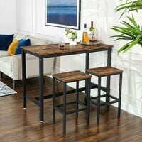 VASAGLE Bar Table Set, Bar Table with 2 Bar Stools, Breakfast Bar Table and Stools Set, Kitchen Counter with Bar Chairs, for Kitchen, Living Room, Party Room, Industrial, Rustic Brown by SONGMICS LBT15X - Rustic Brown
