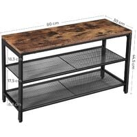 VASAGLE Shoe Bench with Seat, Shoe Rack with 2 Mesh Shelves, Shoe Storage Organiser for Hall Entryway, Metal, Industrial, Rustic Brown by SONGMICS LBS74X - Rustic Brown