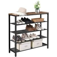 VASAGLE Shoe Rack, Shoe Storage Organiser with 4 Mesh Shelves and Large Surface for Bags, Shoe Shelf for Entryway, Hallway, Closet, Metal, Industrial, Rustic Brown by SONGMICS LBS15BX - Rustic Brown