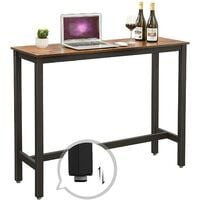 VASAGLE Bar Table, Narrow Rectangular Bar Table, Kitchen Table, Pub Dining High Table, Sturdy Metal Frame, 120 x 40 x 100 cm, Easy Assembly, Industrial Design, Rustic Brown and Black by SONGMICS LBT12X - Rustic Brown and Black