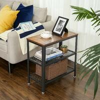 VASAGLE Side Table, End Table, Decorative Table with 2 Mesh Shelves, Hallway, Living Room, Bedroom, Office, Narrow, Stable, Space Saving, Easy Assembly, Industrial Design, Rustic Brown by SONGMICS LET33BX - Rustic Brown