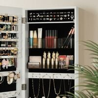 Jewellery Cabinet Armoire, Lockable Wall-Mounted Storage Organiser Unit with 2 Plastic Cosmetic Storage Trays, Full-Length Frameless Mirror, for Necklace Earring, White JJC001W01 - Bianco