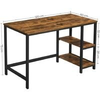 VASAGLE Computer Desk Industrial Design PC 2 Shelves on Right or Left Side Work Table for Office Living Room Lightweight Mounted , Wood composite, Vintage and Black, 120 x 75 x 60 cm (L x H x B) by SONGMICS LWD47X - Vintage and Black