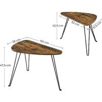 VASAGLE Set of 2 Side Tables, Nesting Tables, End Tables, for Living Room, Dining Room, Bedroom, Industrial Style, Rustic Brown and Black by SONGMICS LNT012B01 - Rustic Brown and Black