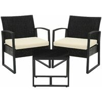 3-Piece Patio Set Outdoor Patio Furniture Sets, PE Rattan, Outdoor Seating for Bistro Front Porch Balcony, Easy to Assemble, 2 Chairs and 1 Table,Black and Beige GGF010M02 - Black and Beige