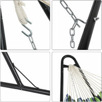 Hammock with Stand, 210 x 150 cmHammock,Double-Rail MetalFrame with Extended Feet, Load Capacity 250 kg, Garden, Outdoor,Black Stand andBlue and Brown Striped HammockGHS11UC - Black Stand andBlue and Brown Striped Hammock