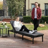 Sun Lounger, Sunbed with 5 cm Thick Mattress, Rattan-Like Surface, Reclining Backrest, 198 x 59 x 28 cm, Load Capacity 150 kg, for Garden, Terrace, Smoky Grey and Black GCB027G01 - Smoky Grey and Black