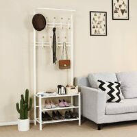 Height 187cm Metal Hall Tree Entryway Organizer Multi-purpose Clothes Coat Stand Shoes Rack Hat Umbrella Bag Stand Cream HSR04W - White
