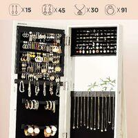 Jewellery Cabinet, 360° Swivel with Storage Shelf, Jewellery Armoire with Full-Length Dressing Mirror, Lockable, 160 cm High, White Cabinet, Greyish Wood Grain JBC62W - White