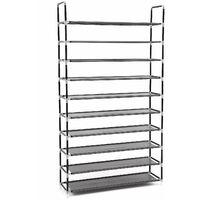 10 Tier for 60 pairs of shoe Rack Standing Storage Organizer Black 100 x 29 x 175cm LSR10H - Black
