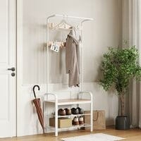 VASAGLE Coat Rack Hat and Coat Stand Hall Shoes Rack Umbrella Bag Stand with Removable Hooks Height 183cm Metal Cream by SONGMICS HSR40W - Cream
