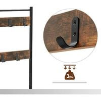 VASAGLE Vintage Hat and Coat Stand Hallway Shoe Rack and Bench with Shelves Storage Organiser with Hooks Matte Metal Frame 70 x 32 x 175cm by SONGMICS HSR41BX - Vintage