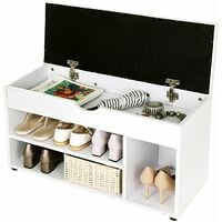 Wooden Shoe Storage Bench Ottoman Hallway Bench With Seat Cushion Seat Cabinet with 2 Shelves and a Hidden Storage Chest White LHS30W - White