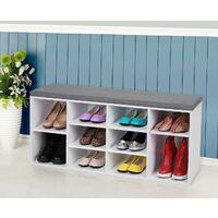 Wooden Shoe bench Storage Cabinet Rack Hallway Cupboard Organizer with Seat Cushion 104 x 30 x 48cm White LHS10WT - White