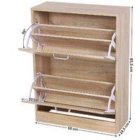 2-Tier Wooden Storage Cabinet for Shoes Storage Unit 60 x 24 x 83.5cm (W x D x H) LBC602H - Oak
