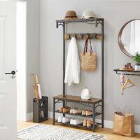 VASAGLE Vintage Hat and Coat Stand, Hallway Shoe Rack and Bench with Shelves, Hall Tree with Hooks, Matte Metal Frame,by SONGMICS HSR45BX - Vintage, Black