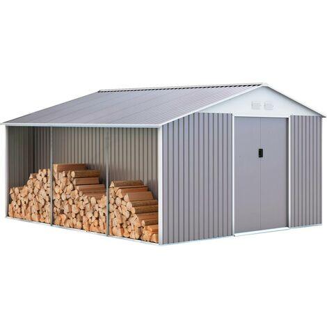 "Abri de jardin métal ""Dallas"" 15,16 m² avec abri bûche"