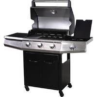 """Barbecue Gaz avec LED """"Bingo 4"""" - 4 brûleurs dont 1 latéral - 14kW + Housse protection - Noir"""