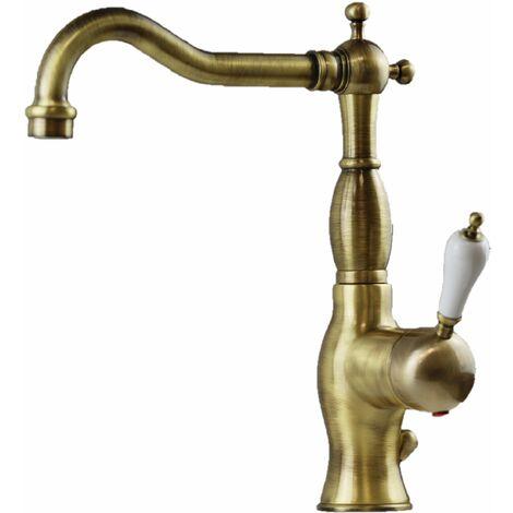 """Mezclador de lavabo de color bronce antiguo Nice Funny 60600017BB   Bronce - Desagüe automático 1""""1/4"""