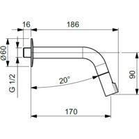 Grifo para lavabo de pared con caño largo 186 mm Idral 01161/DC | Cromo