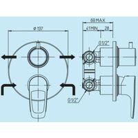 Mezclador de ducha empotrado con desviador de 2 vías Piralla Armonia 0RM00400A16 | Cromo - 2 salidas