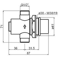 Grifo para lavabo empotrado temporizado con fijación a pared Idral 08140SP | Cromo