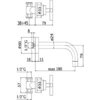 Grifo para lavabo de pared con 3 orificios a batería Paffoni QTV003CR-QTV008CR | 175 mm