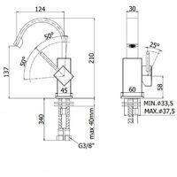 Mezclador de bidé con caño plano ajustable Paffoni LEVEL LEA838-LEA837 | Cromo - Sin Desagüe