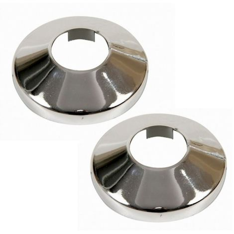 2x Pieces Chromed PVC Plastic Radiator Pipe Cover Collar Rose 20mm Diameter