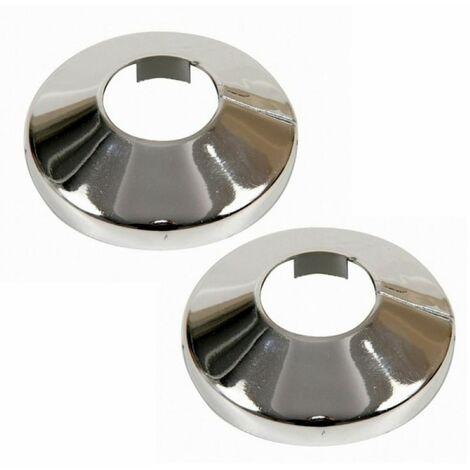 2x Pieces Chromed PVC Plastic Radiator Pipe Cover Collar Rose 22mm Diameter