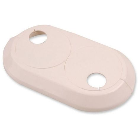 Double 20mm PVC White Radiator Plastic Water Pipe Cover Collar Rose