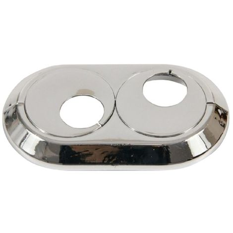Double 20mm PVC Chrome Radiator Plastic Water Pipe Cover Collar Rose