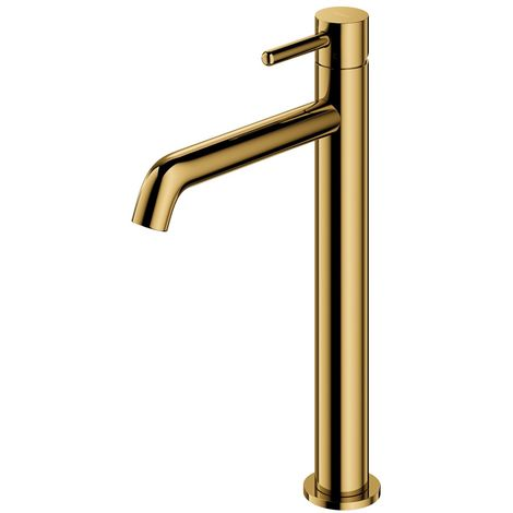 Gold Coloured Brass Bathroom Basin Faucet Standing Tall Mixer Tap Single Lever