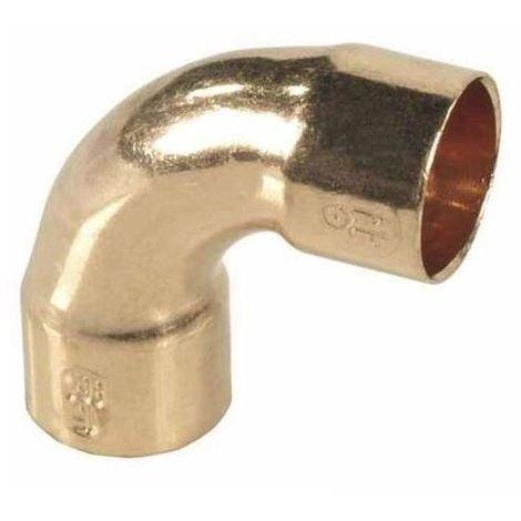 Pipe Fitting Bow Elbow Copper Solder Female x Female 18mm Diameter 90deg Angle