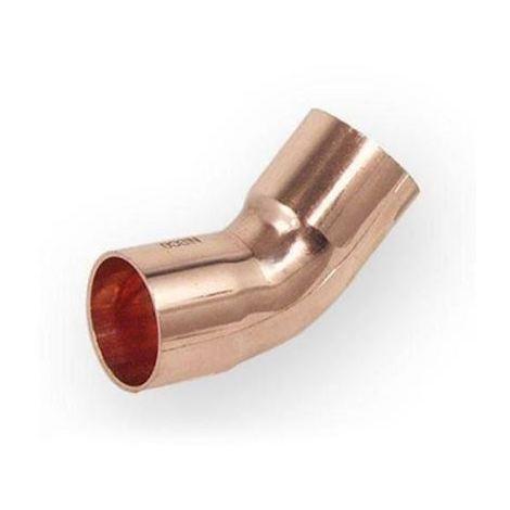 Pipe Fitting Bow Elbow Copper Solder Female x Female 22mm Diameter 45deg Angle