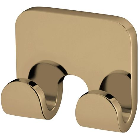 Small Double Towel Hanger Bathroom Gold Colour Finished Zamak Wall Mounted