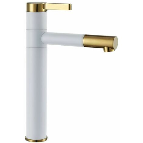 Tall Basin Tap White/Gold Colour Finished Brass Bathroom Standing Faucet Mixer