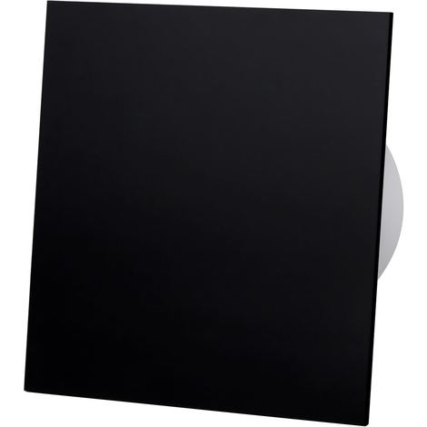 Black Acrylic Glass Front Panel 100mm Timer Extractor Fan for Wall Ceiling Ventilation